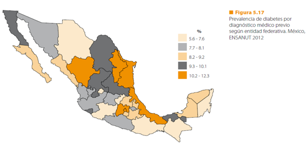 mapa mexico diabetes